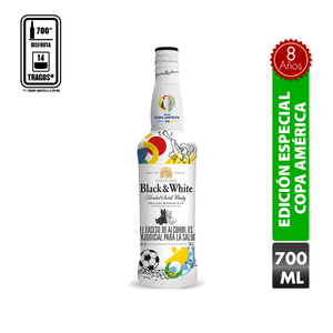 Whisky Black And White 8 Años Edicion Especial Copa America 700 Ml