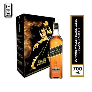 Pack jhonnie walker black 700 ml + vaso